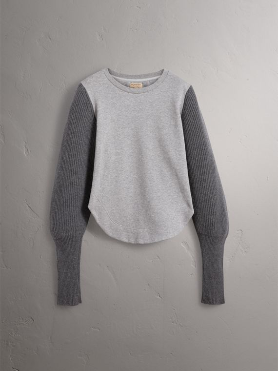 Rib Knit-sleeve Cotton Blend Sweatshirt in Pale Grey Melange - Women | Burberry - cell image 3