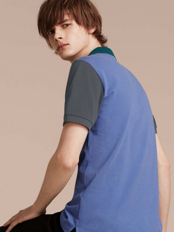 Bright hydrangea blue Colour-block Cotton Piqué Polo Shirt Bright Hydrangea Blue - cell image 2