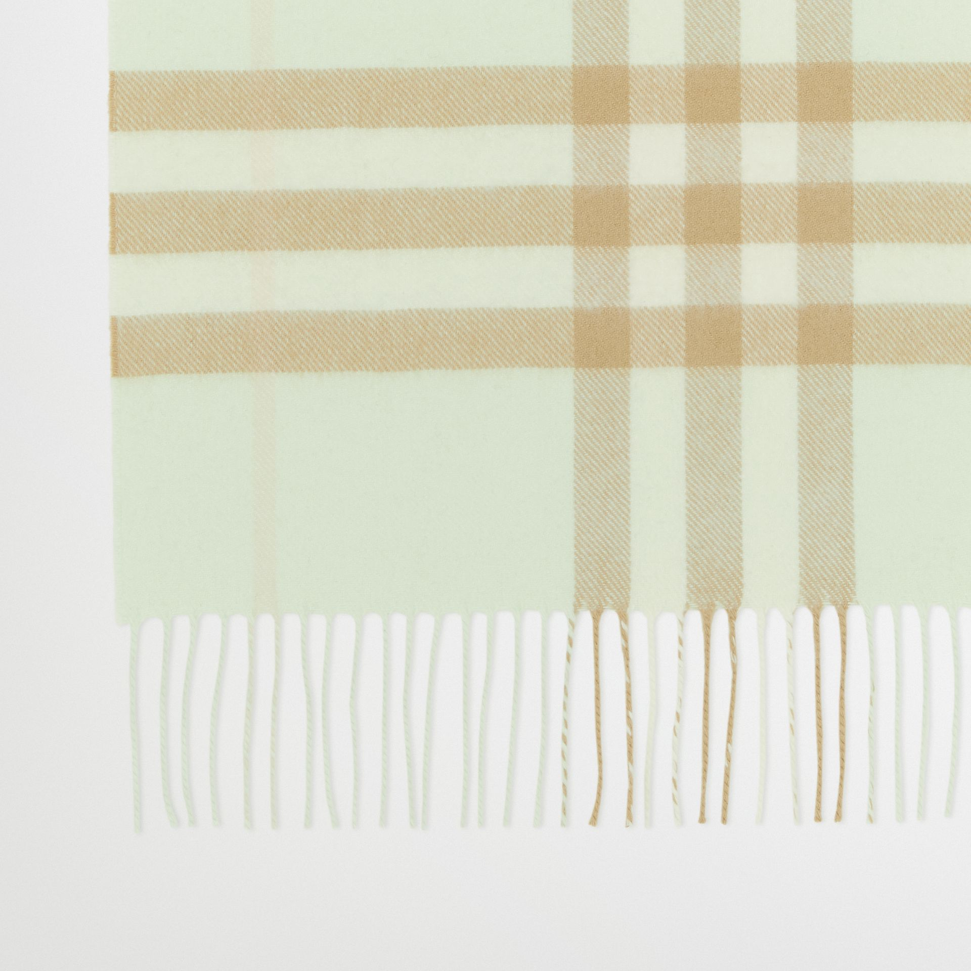 The Classic Check Cashmere Scarf in Pistachio | Burberry - gallery image 1