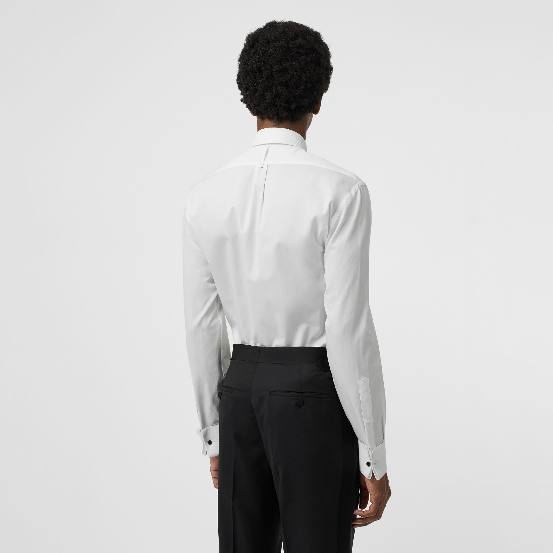 Modern Fit Panelled Bib Cotton Twill Evening Shirt in White - Men | Burberry Singapore - gallery image 2
