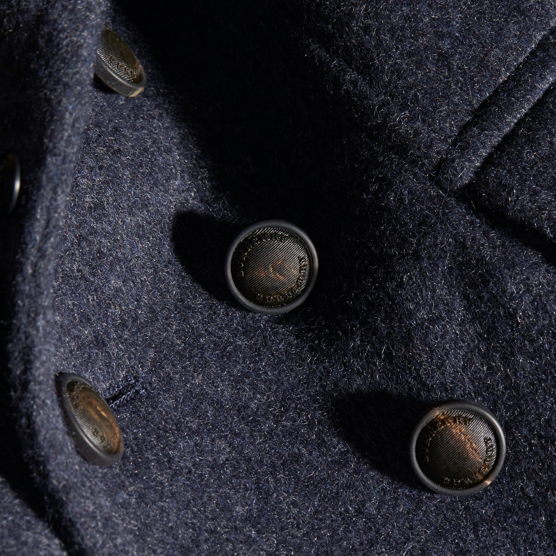 Navy Wool Cashmere Blend Pea Coat - gallery image 2