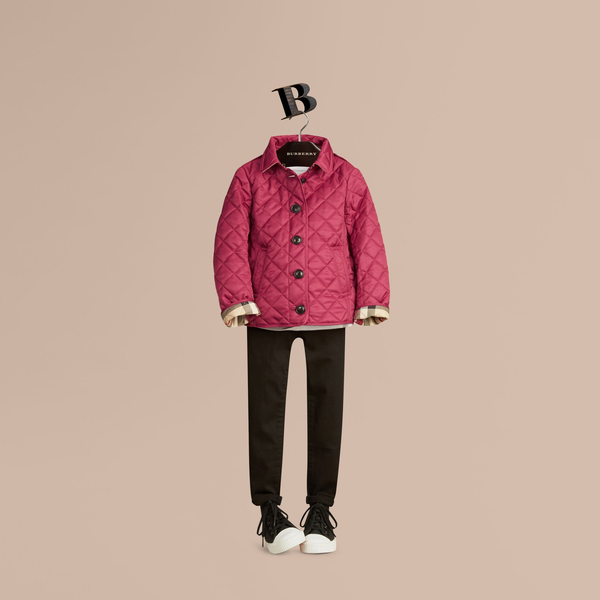Fritillary pink Check Lined Diamond Quilted Jacket Fritillary Pink - gallery image 3
