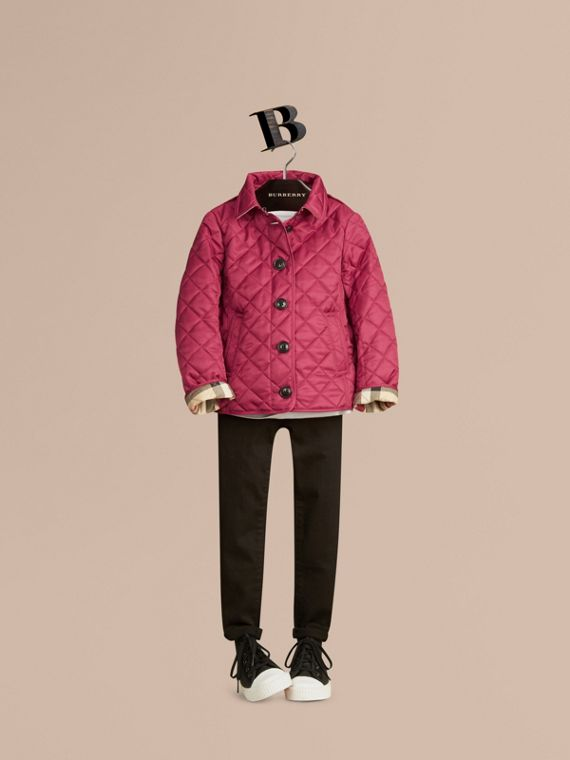 Check Lined Diamond Quilted Jacket in Fritillary Pink - Girl | Burberry - cell image 2
