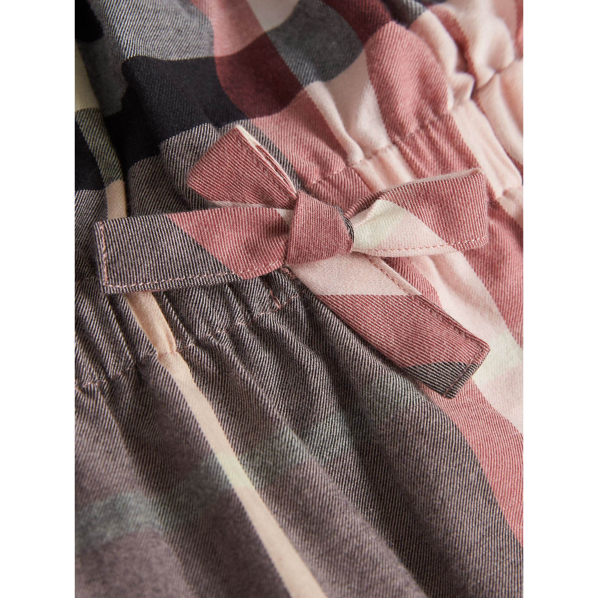 Gathered Check Cotton Flannel Dress in Dusty Pink | Burberry - gallery image 1