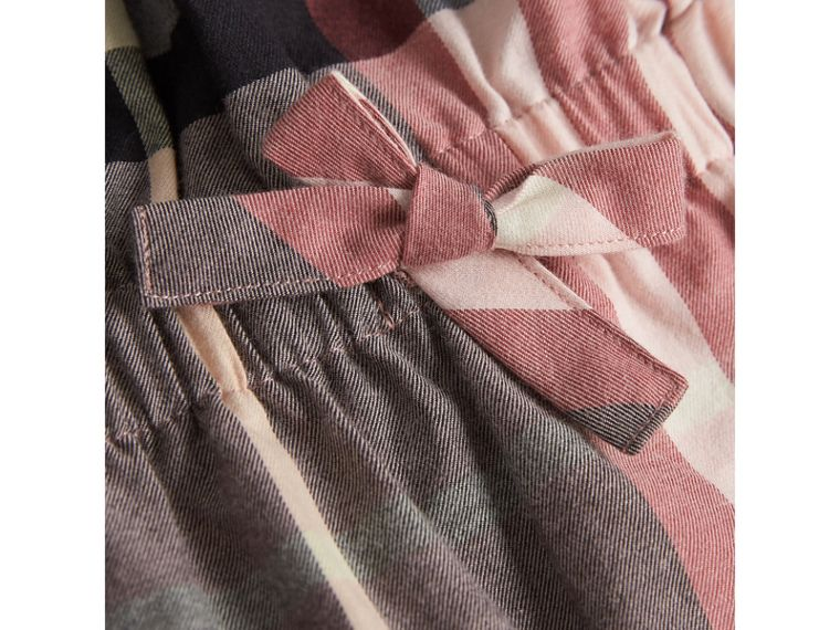 Gathered Check Cotton Flannel Dress in Dusty Pink | Burberry - cell image 1