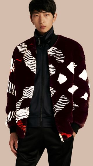 Check Intarsia Fur Bomber Jacket