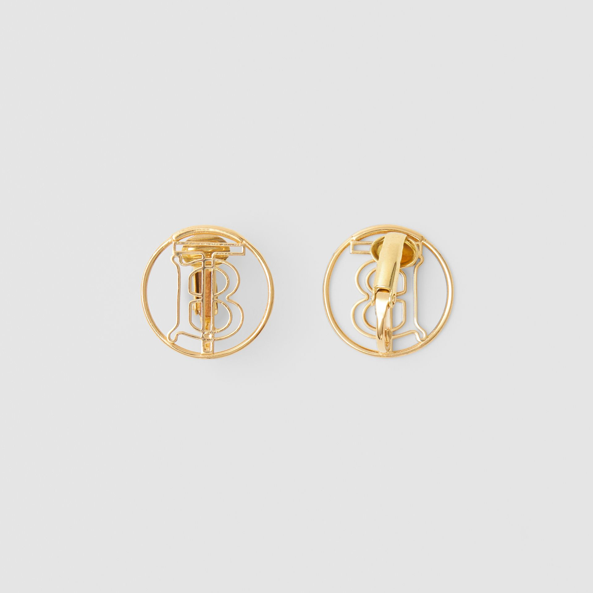 Gold-plated Monogram Motif Earrings in Light - Women | Burberry Hong Kong S.A.R - gallery image 3