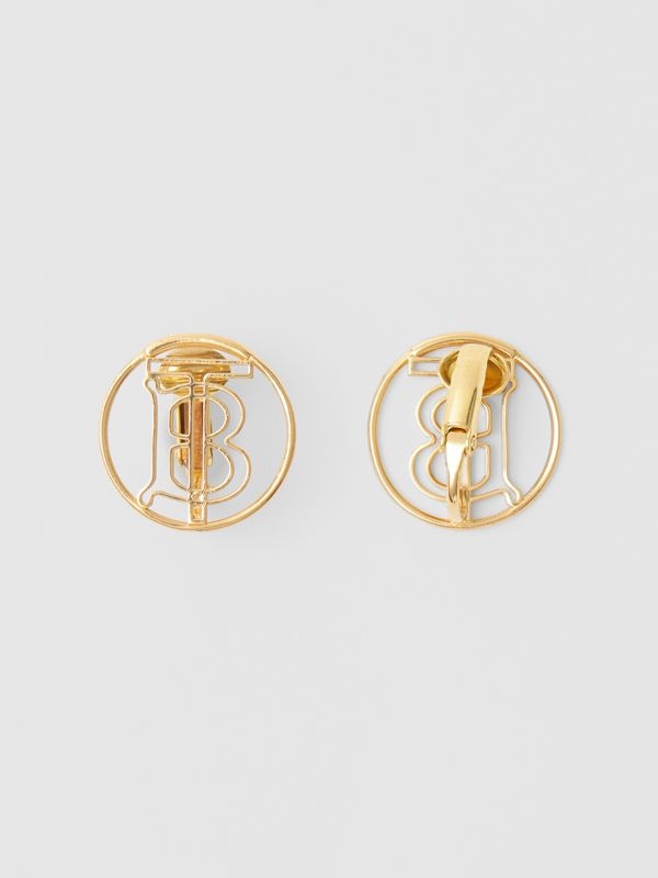 Gold-plated Monogram Motif Earrings in Light - Women | Burberry Hong Kong S.A.R - cell image 3