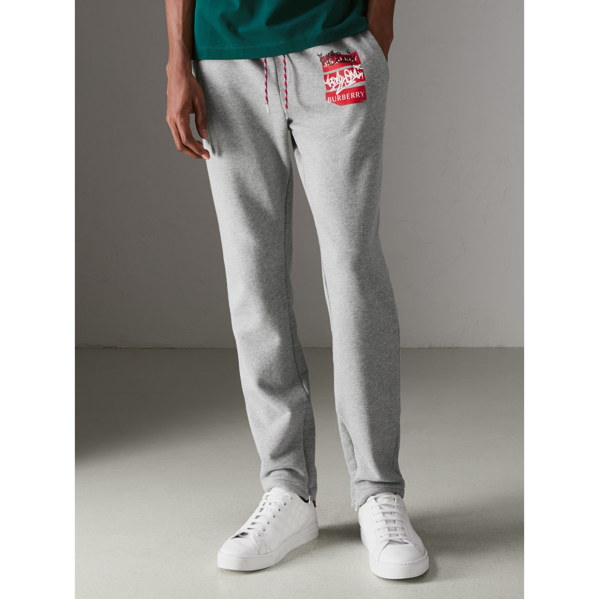 Graffitied Ticket Print Sweatpants in Pale Grey Melange - Men | Burberry United Kingdom - gallery image 4
