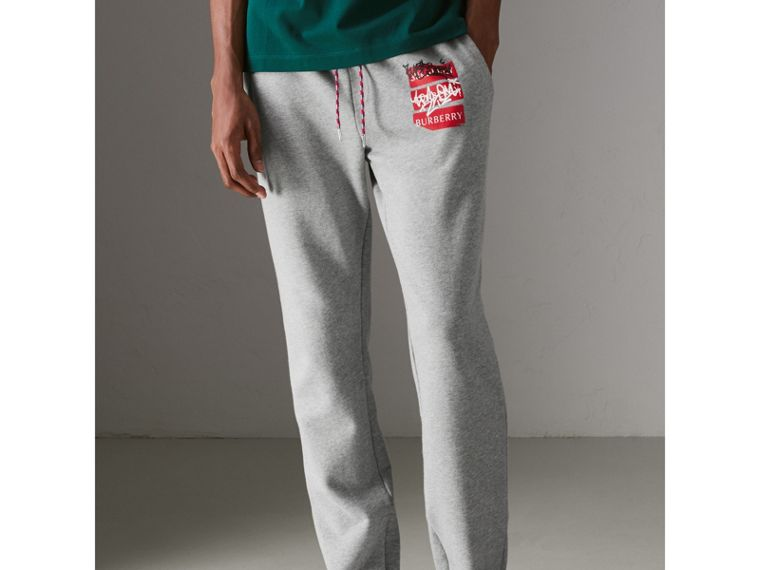 Graffitied Ticket Print Sweatpants in Pale Grey Melange - Men | Burberry - cell image 4