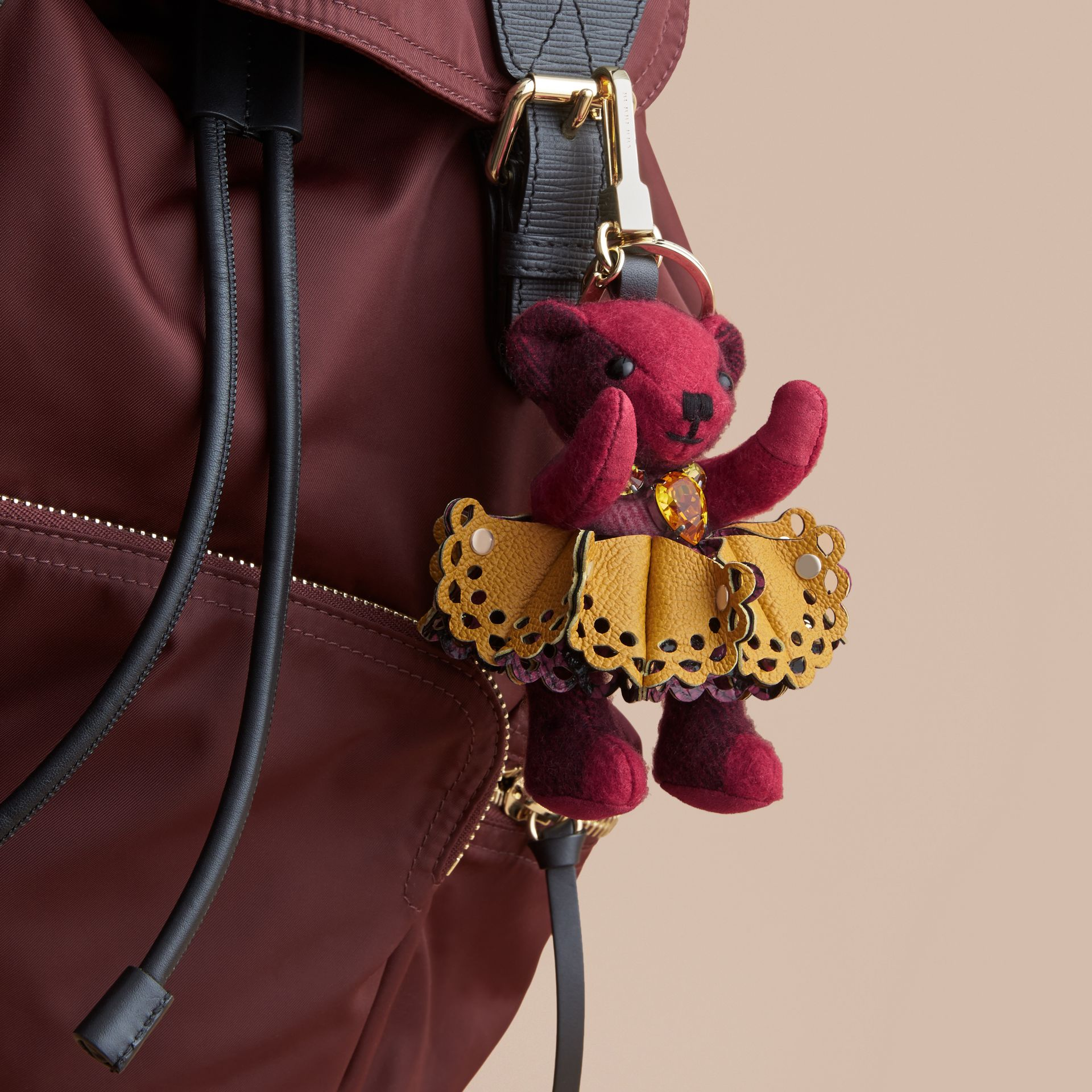 Thomas Bear Charm in Leather Lace and Crystals in Fuchsia Pink - Women | Burberry - gallery image 3