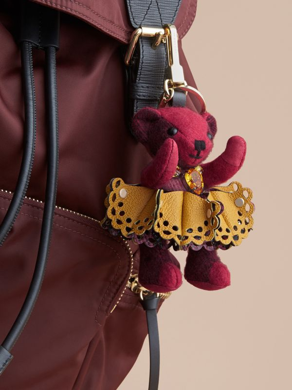Thomas Bear Charm in Leather Lace and Crystals in Fuchsia Pink - Women | Burberry Singapore - cell image 2