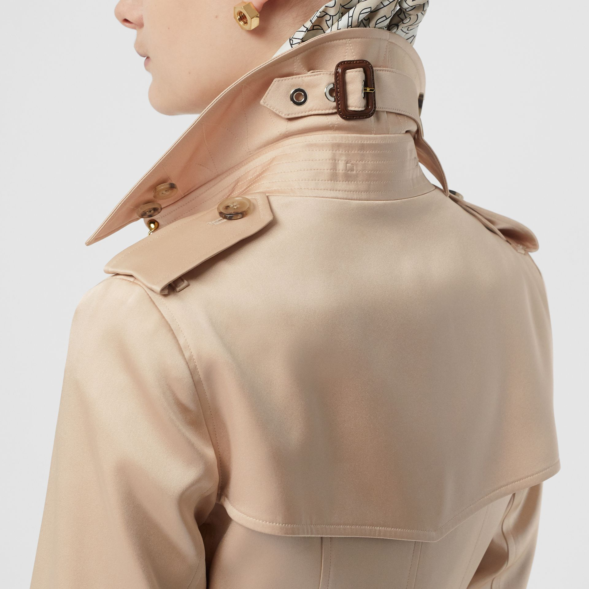 Silk Satin Trench Coat in Pale Blush - Women | Burberry - gallery image 1
