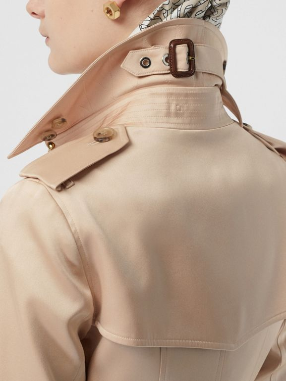 Silk Satin Trench Coat in Pale Blush - Women | Burberry - cell image 1