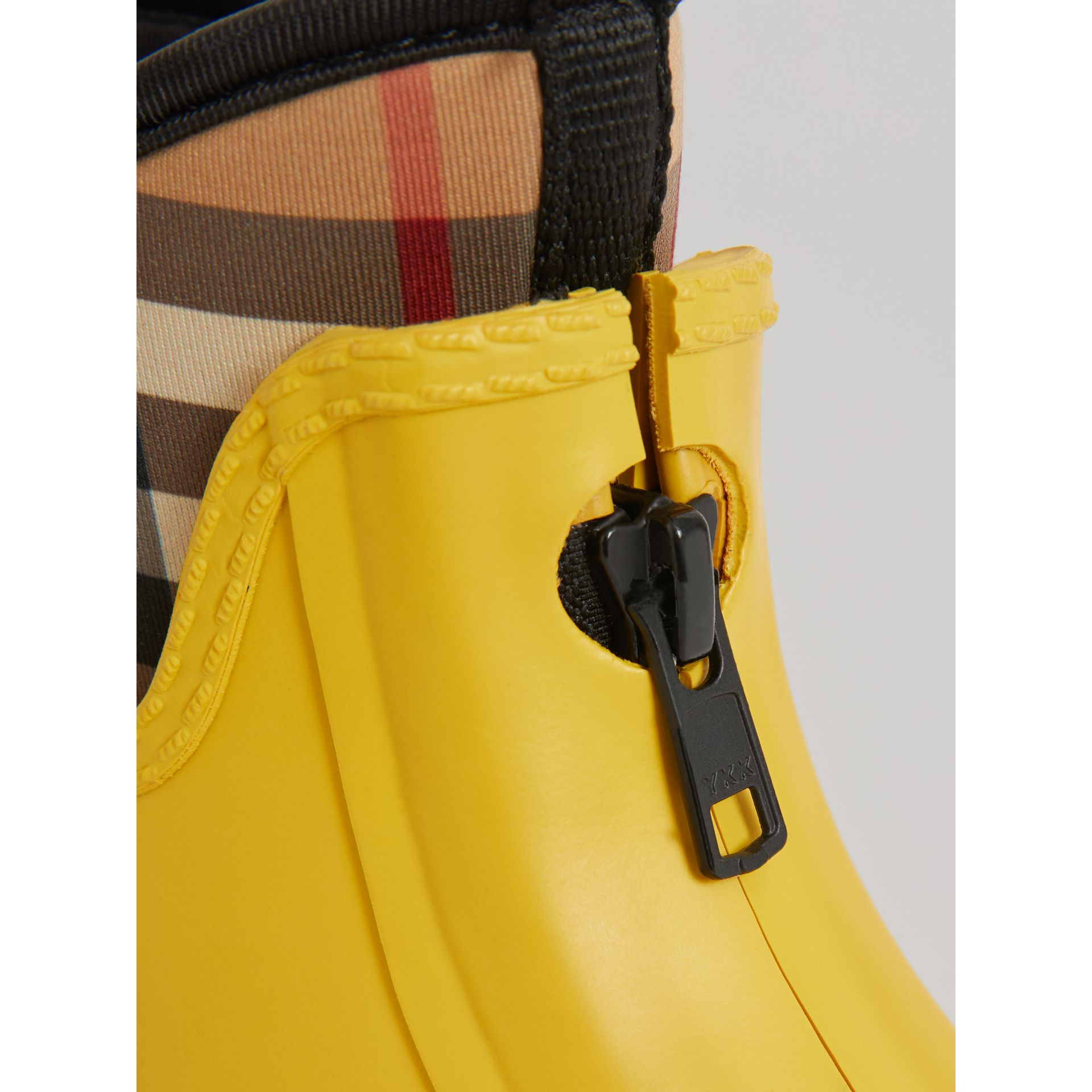 Vintage Check Neoprene and Rubber Rain Boots in Vibrant Lemon | Burberry United States - gallery image 1