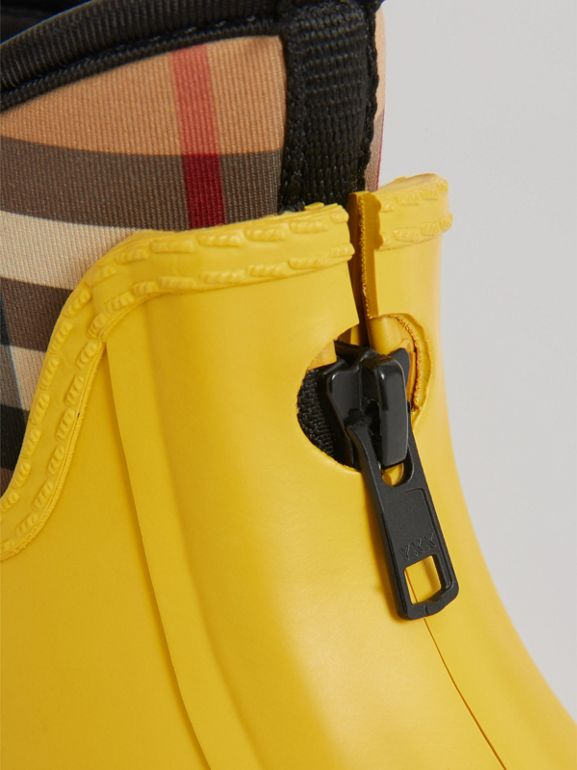 Vintage Check Neoprene and Rubber Rain Boots in Vibrant Lemon | Burberry - cell image 1