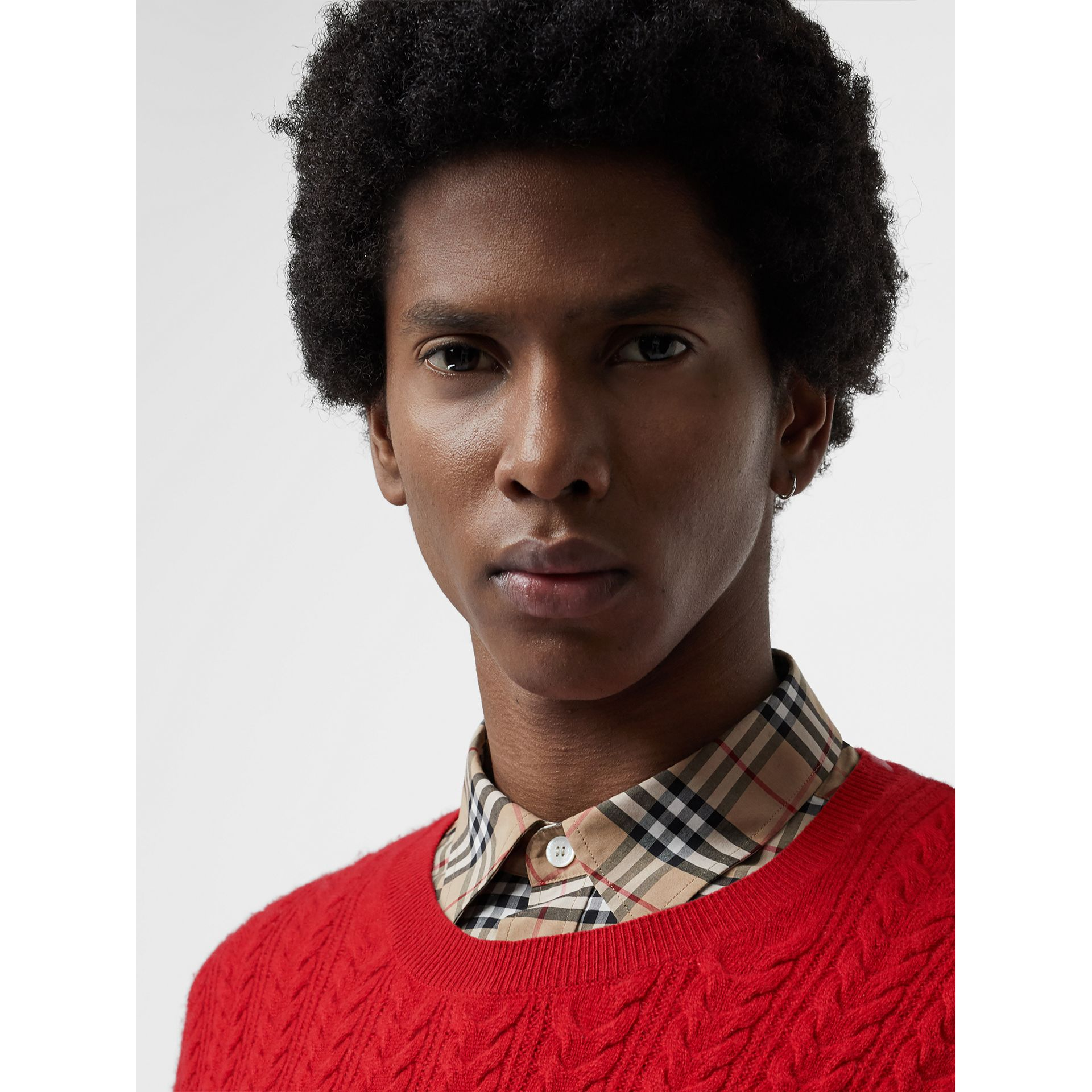 Cable Knit Cashmere Sweater in Military Red - Men | Burberry - gallery image 1