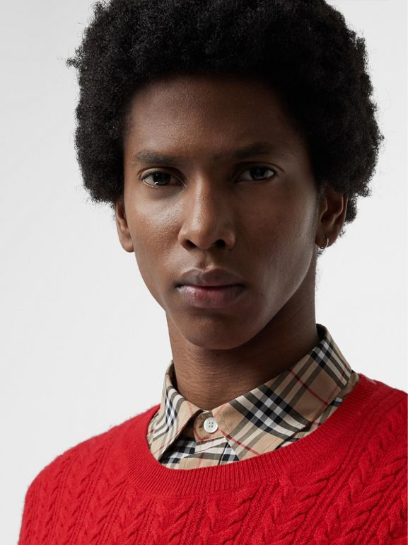 Cable Knit Cashmere Sweater in Military Red - Men | Burberry - cell image 1