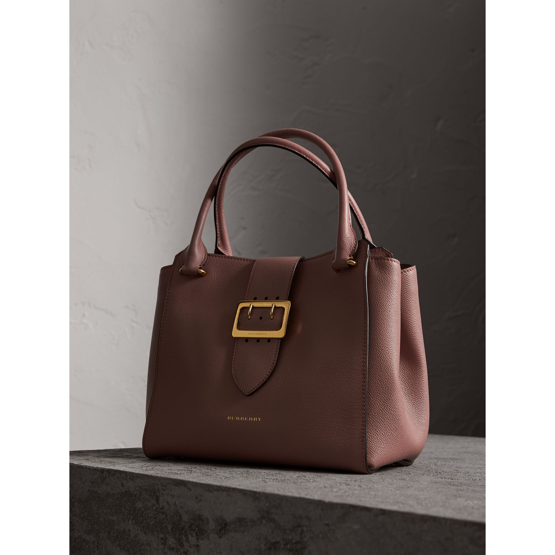 The Medium Buckle Tote in Grainy Leather in Dusty Pink - Women | Burberry - gallery image 7
