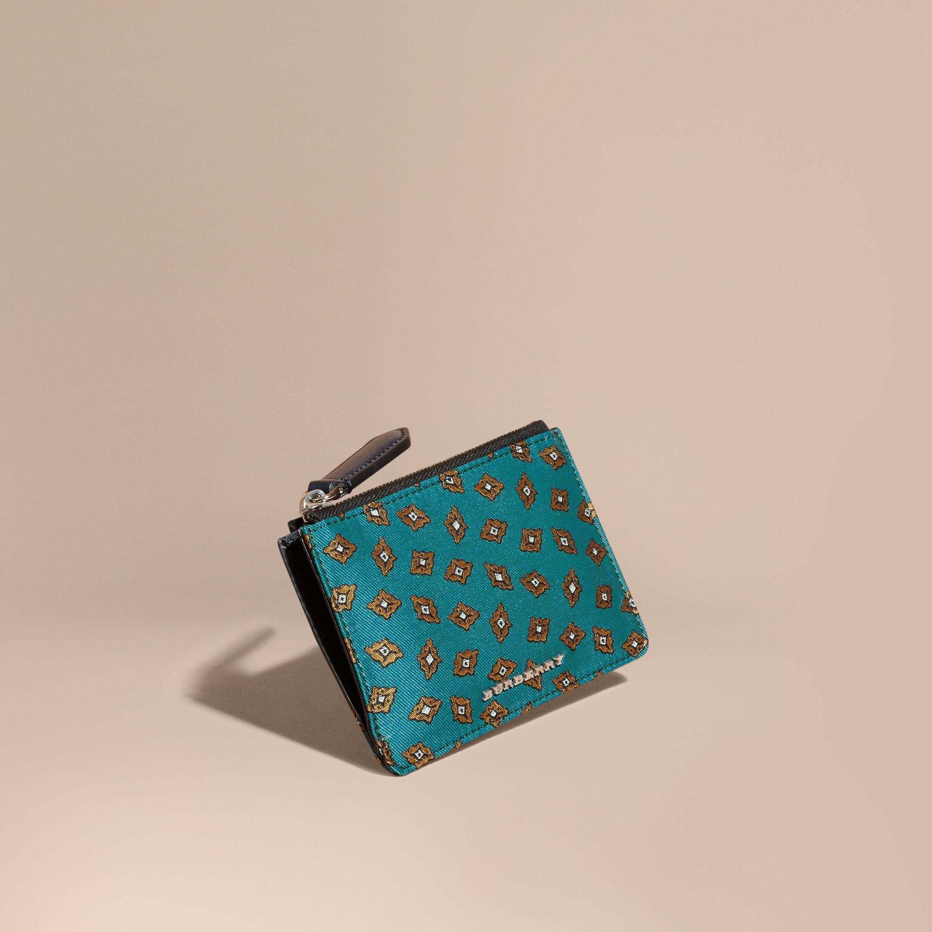 Dark teal Geometric Tile Jacquard Zip-top Wallet Dark Teal - gallery image 1