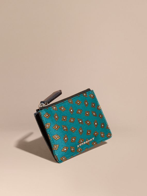 Geometric Tile Jacquard Zip-top Wallet Dark Teal