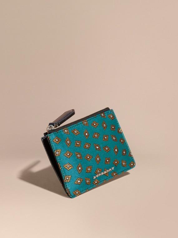 Portefeuille en jacquard à motif mosaïque géométrique avec zip supérieur Canard Sombre