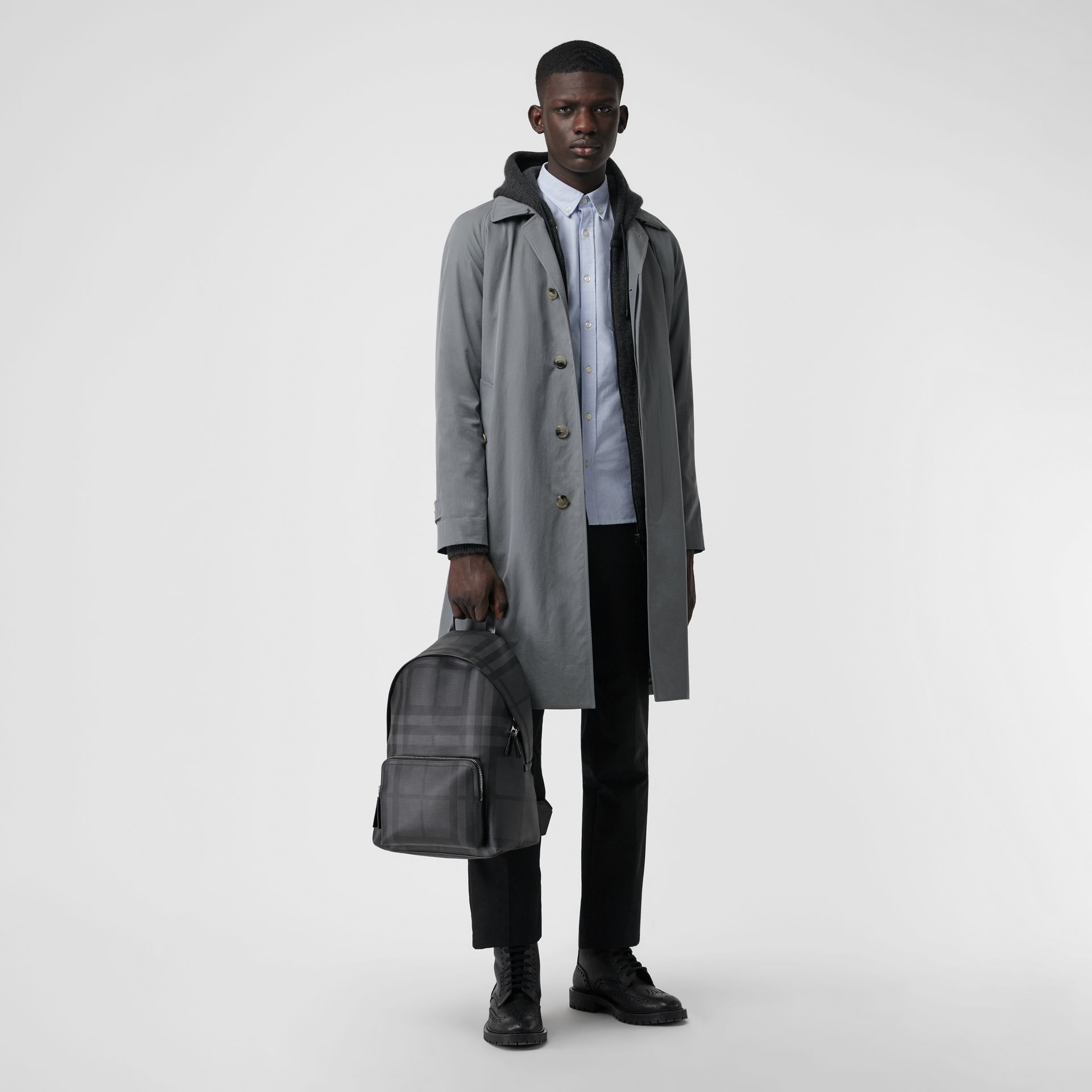 Leather Trim London Check Backpack in Charcoal/black - Men | Burberry Canada - gallery image 3