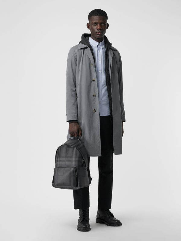 Leather Trim London Check Backpack in Charcoal/black - Men | Burberry - cell image 3