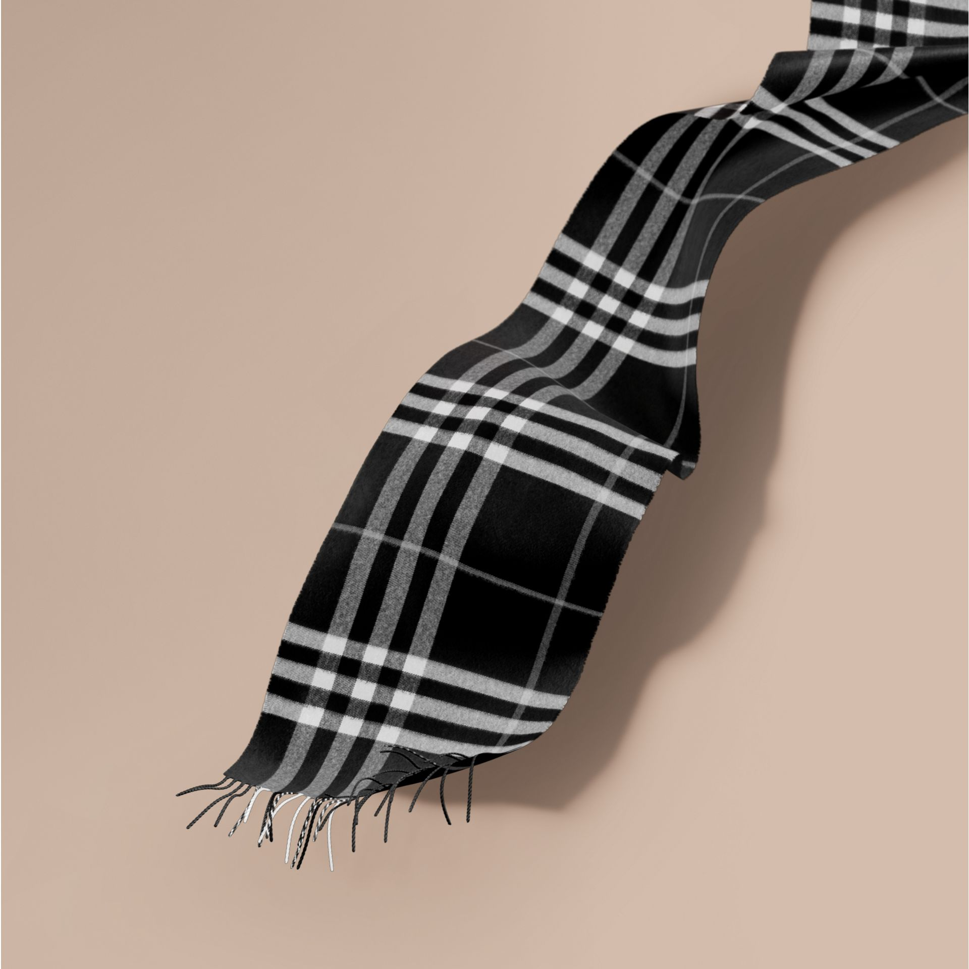 The Classic Cashmere Scarf in Check  Black - gallery image 1