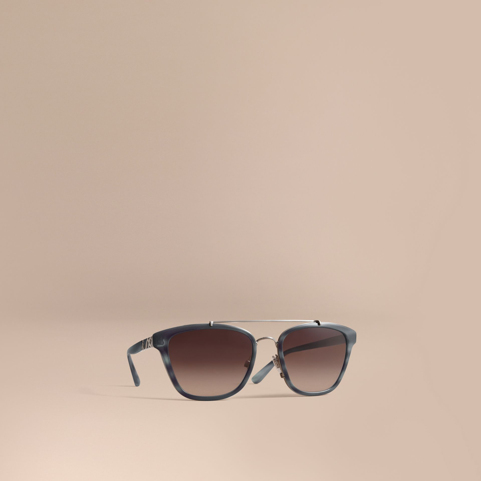 Check Detail Square Frame Sunglasses Blue - gallery image 1