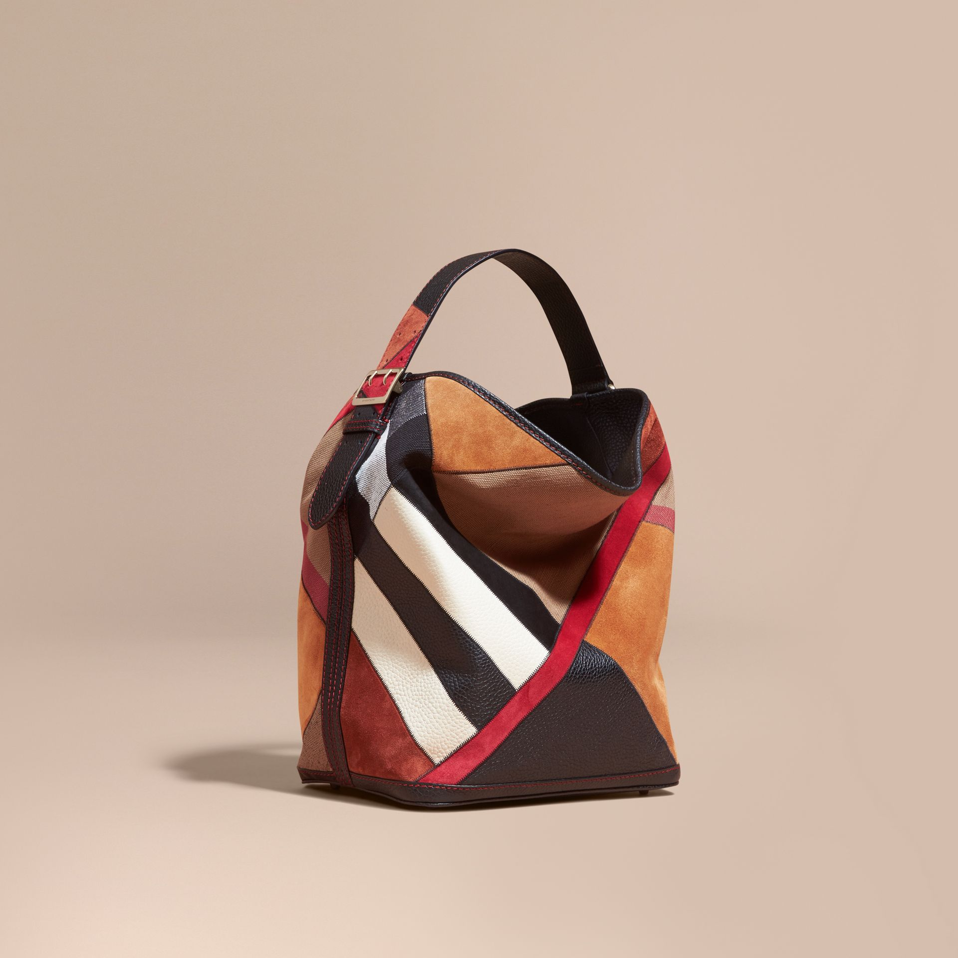The Medium Ashby in Patchwork Canvas Check and Leather Black - gallery image 1
