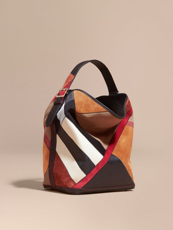 Sac The Ashby medium en toile Canvas check façon patchwork et cuir (Noir) - Femme | Burberry