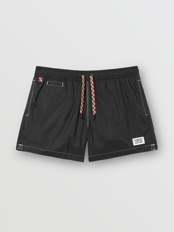 Logo Appliqué Drawcord Swim Shorts in Black | Burberry United Kingdom - cell image 3