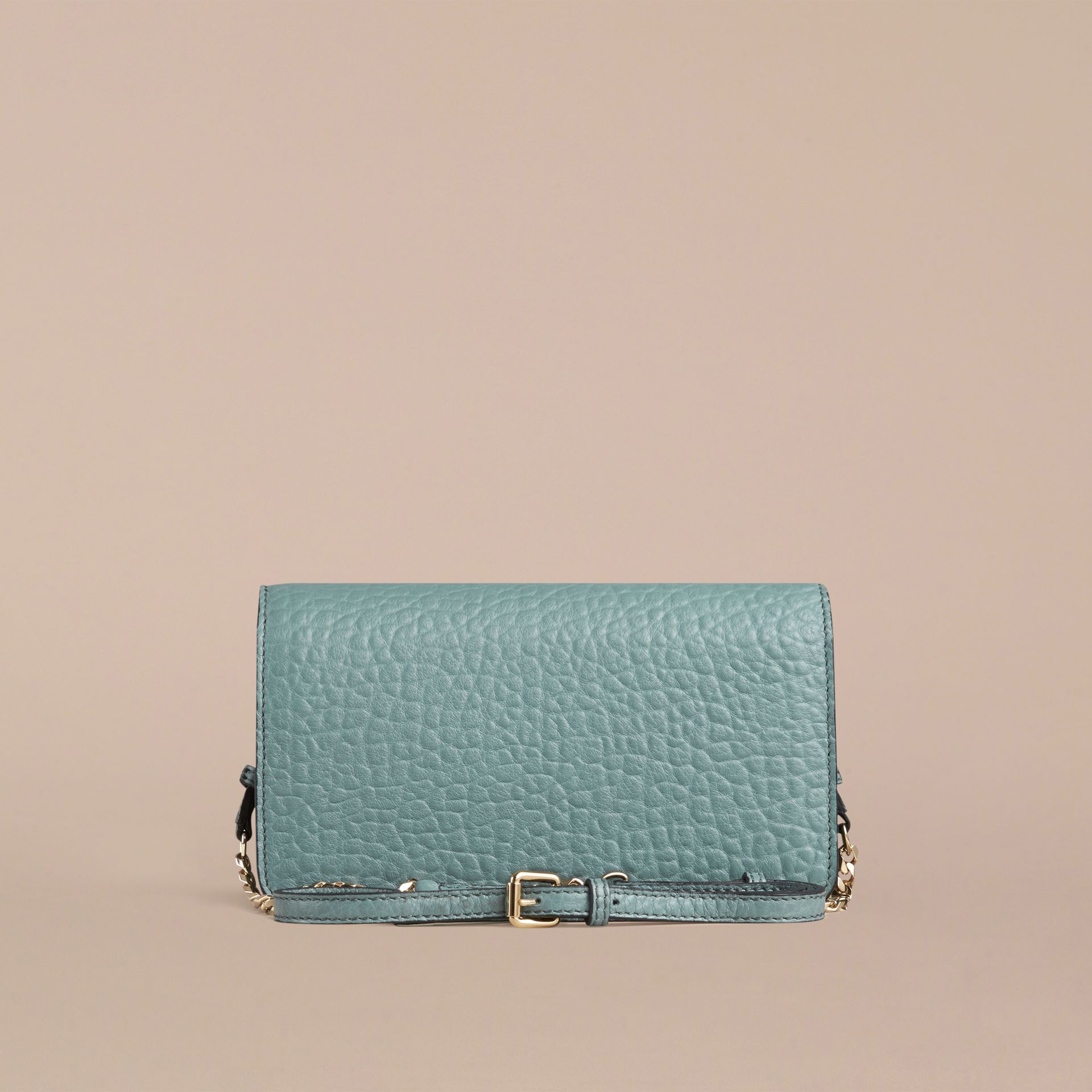 Celadon blue Signature Grain Leather Clutch Bag with Chain - gallery image 2