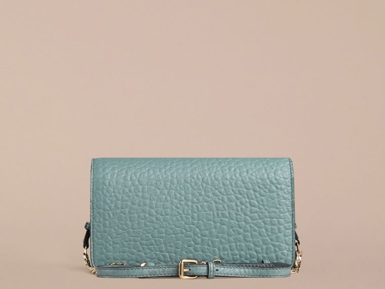 Celadon blue Signature Grain Leather Clutch Bag with Chain - cell image 1