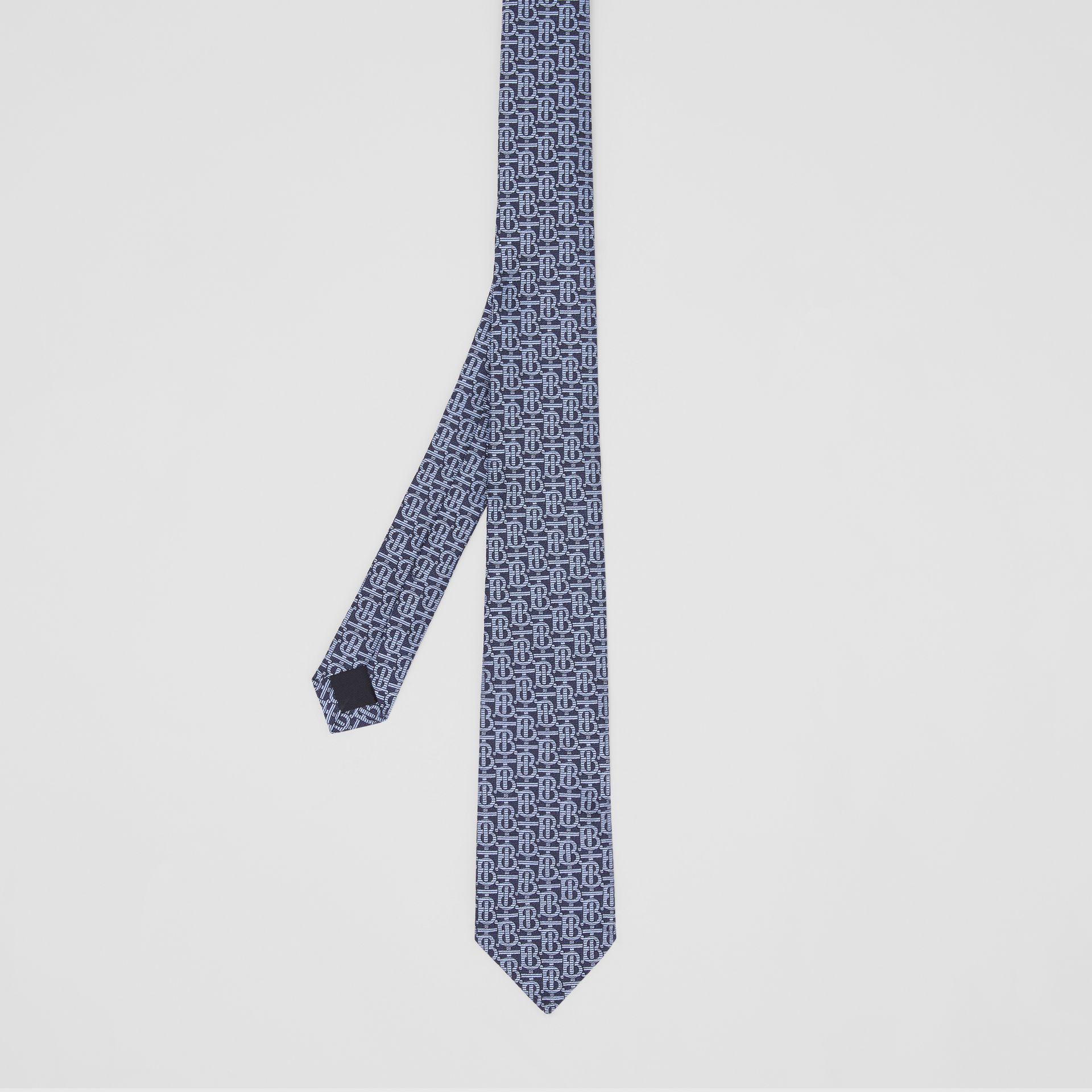 Classic Cut Monogram Silk Jacquard Tie in Bright Navy - Men | Burberry - gallery image 4