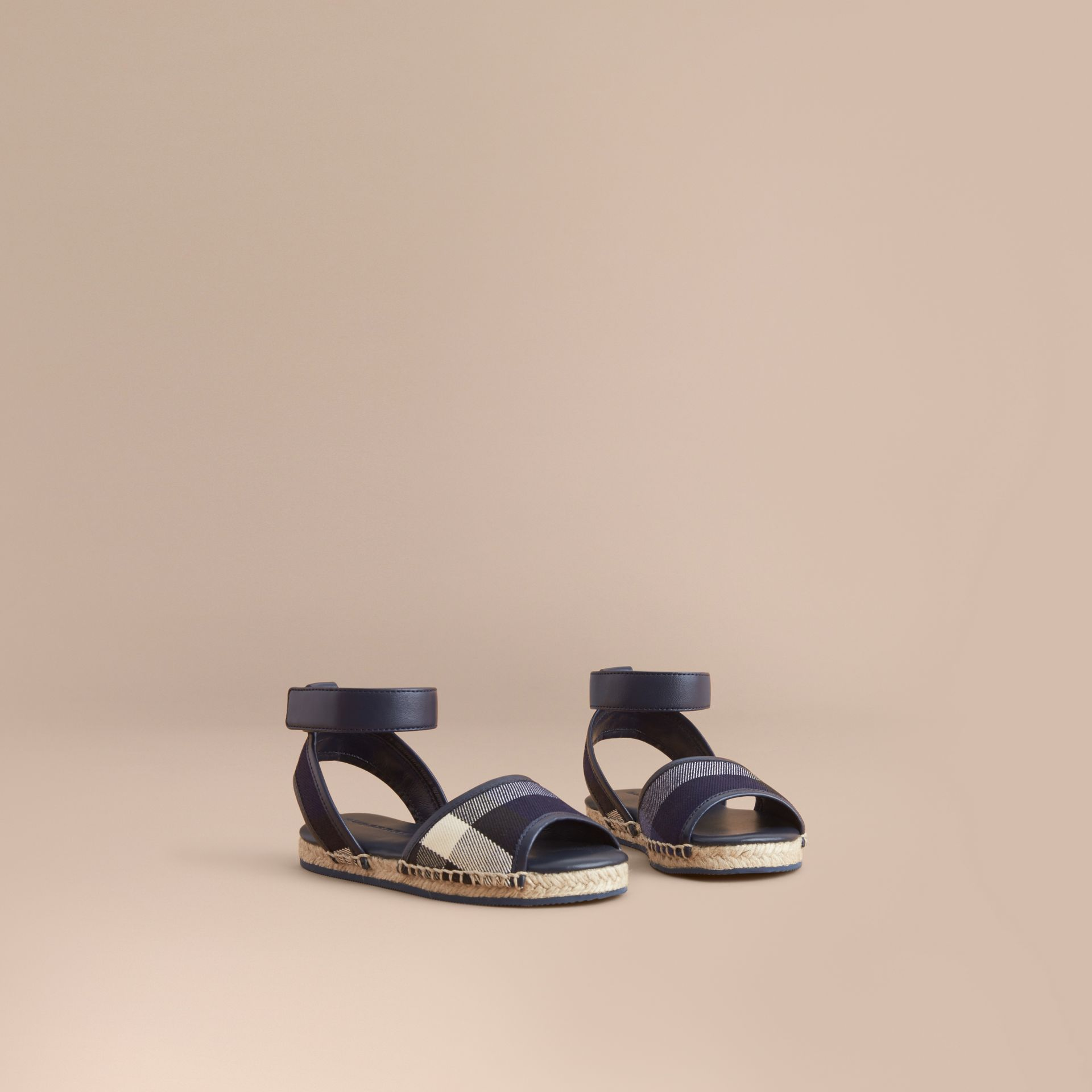 Leather Ankle Strap and House Check Espadrille Sandals in Bright Sapphire | Burberry - gallery image 1