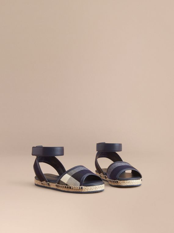 Leather Ankle Strap and House Check Espadrille Sandals in Bright Sapphire