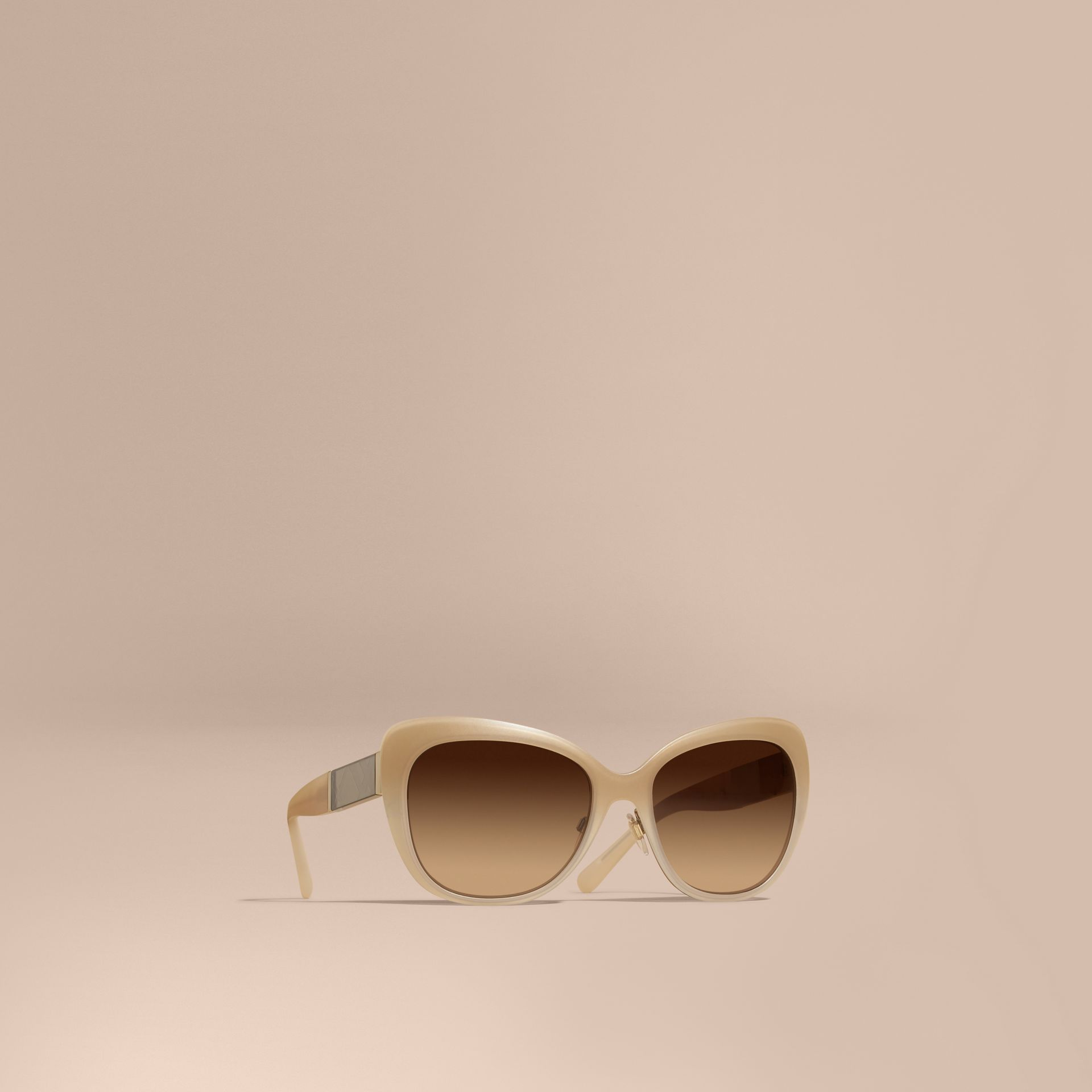 Chino grey Check Detail Square Cat-eye Sunglasses Chino Grey - gallery image 1