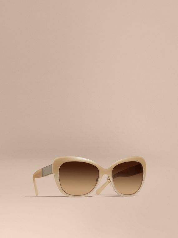 Check Detail Square Cat-eye Sunglasses Chino Grey