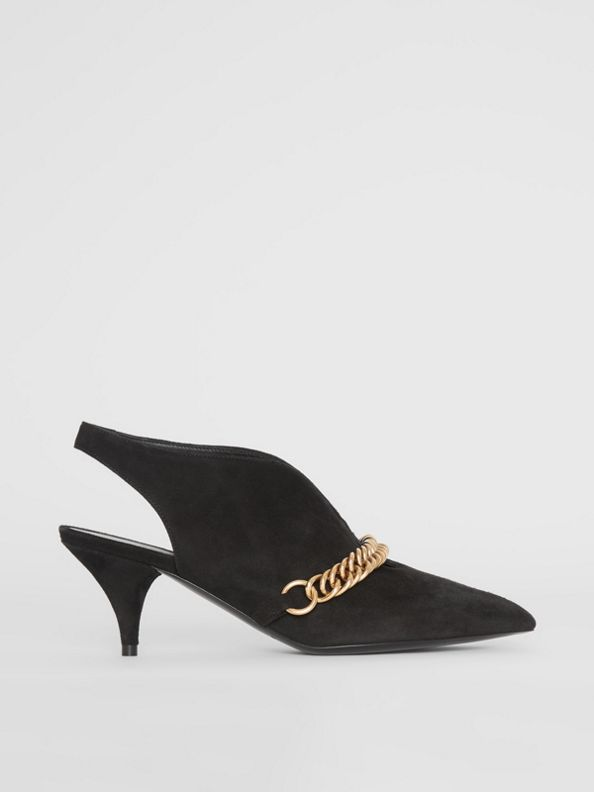 Link Detail Suede Slingback Pumps in Black