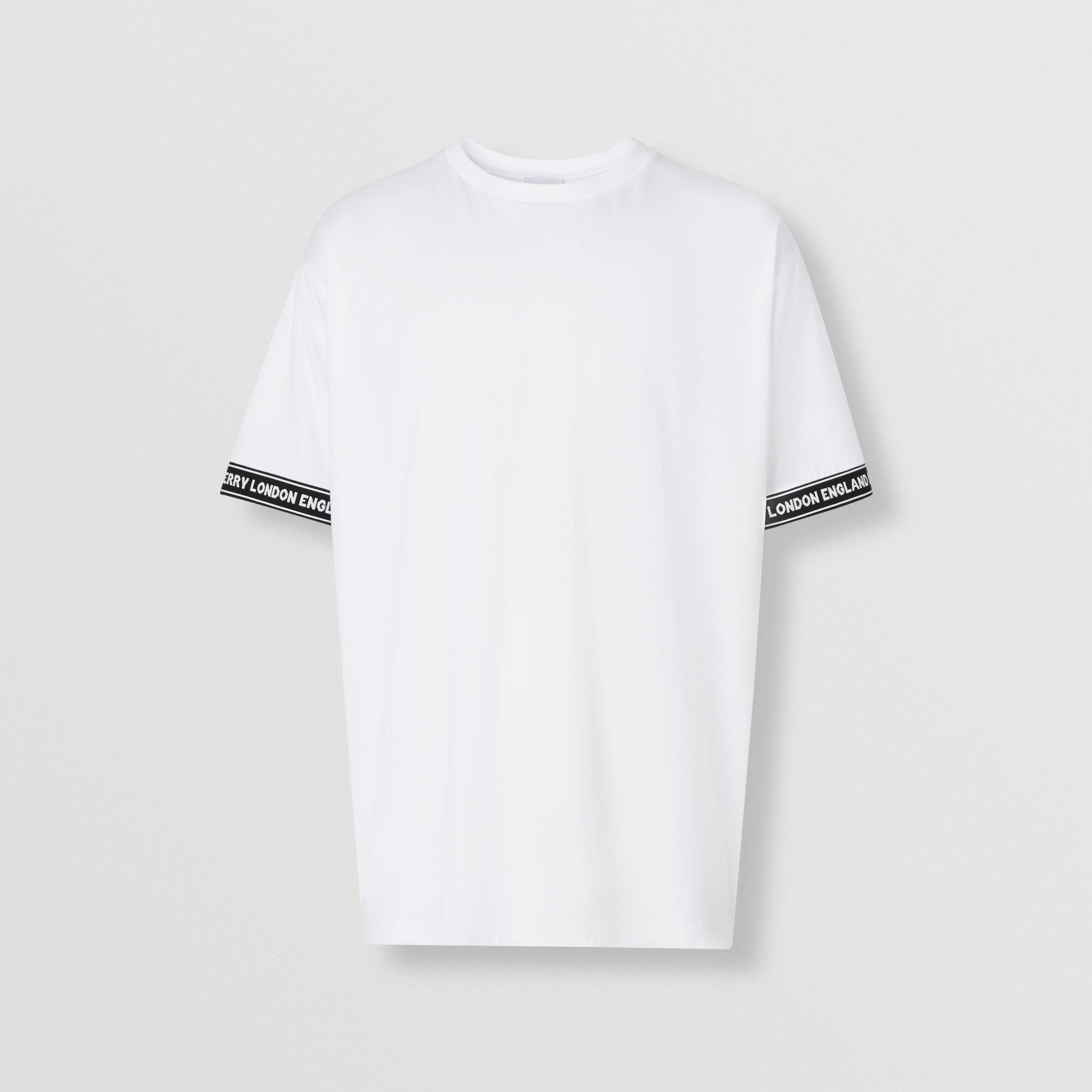 Logo Tape Cotton Oversized T-shirt in White - Men | Burberry - 4