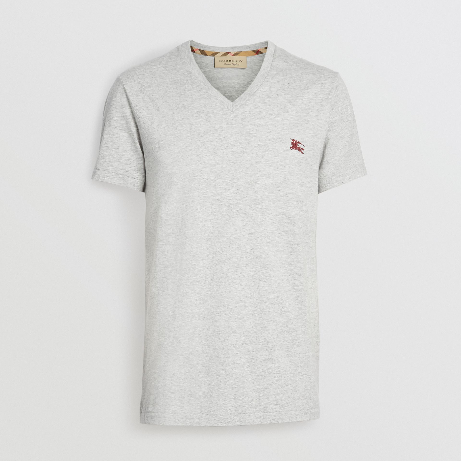 f16e6778 Cotton Jersey V-neck T-shirt in Pale Grey Melange - Men | Burberry ...