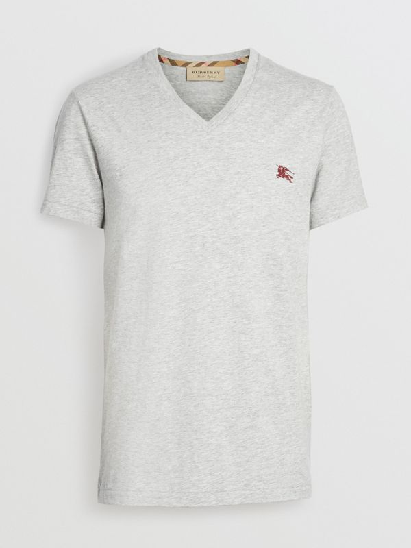 Cotton Jersey V-neck T-shirt in Pale Grey Melange - Men | Burberry United Kingdom - cell image 3