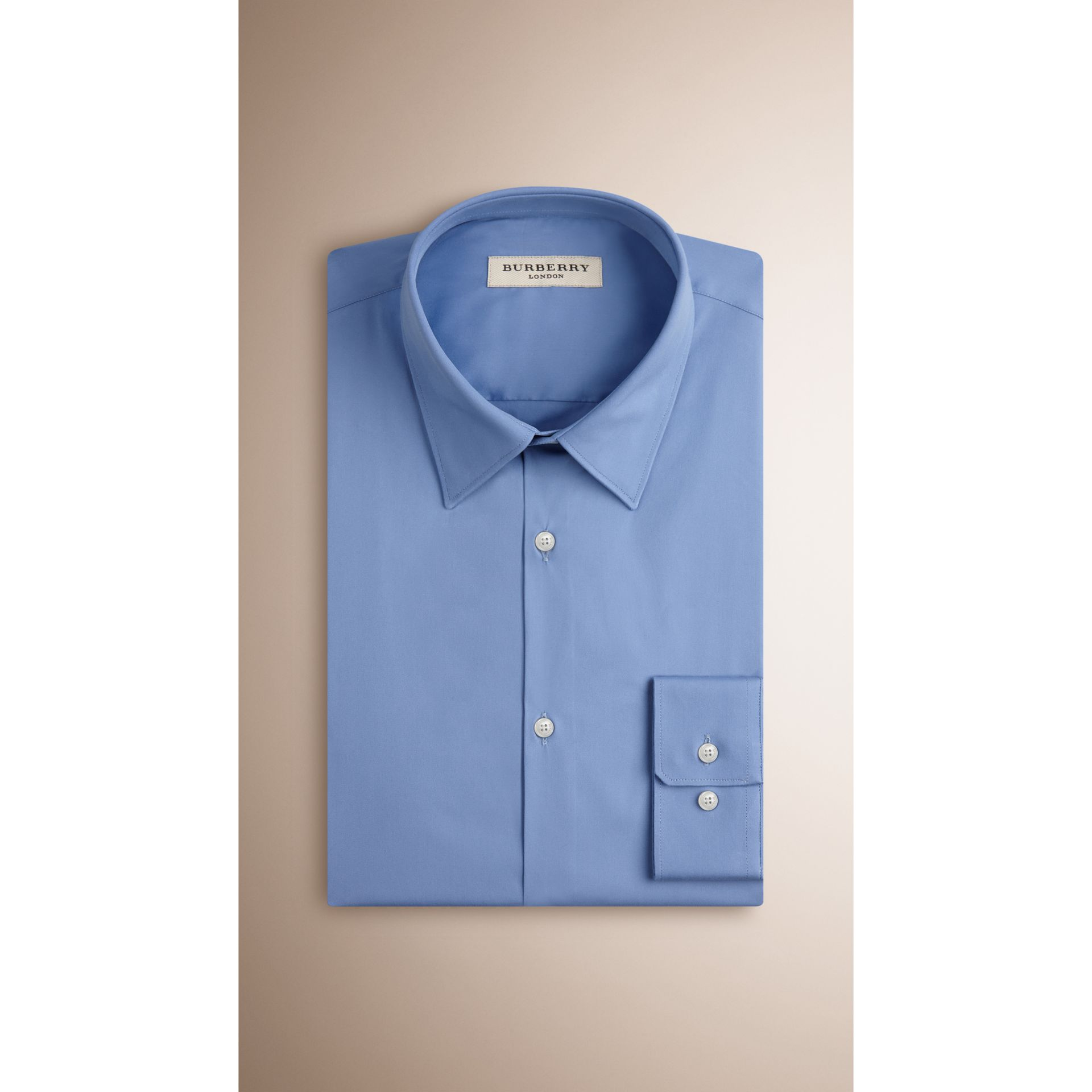 Slim Fit Stretch Cotton Blend Shirt in Mid Blue - gallery image 3