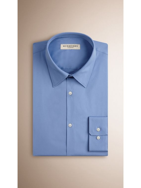 Slim Fit Stretch Cotton Blend Shirt in Mid Blue - cell image 2
