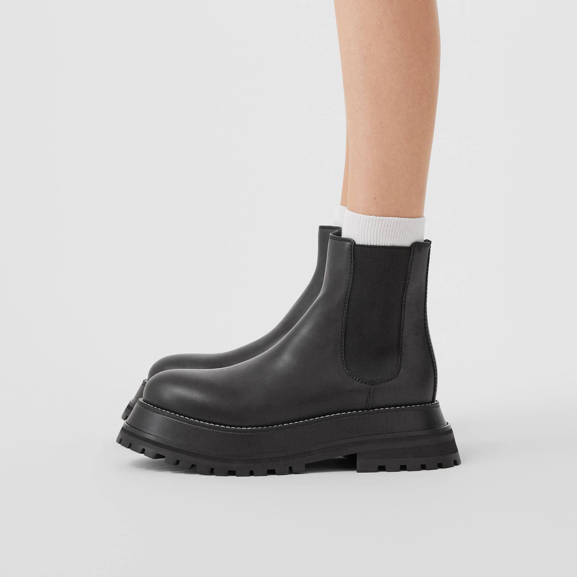 Leather Chelsea Boots in Black/black - Women | Burberry - gallery image 2