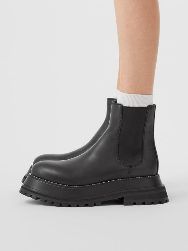 Leather Chelsea Boots in Black/black - Women | Burberry - cell image 2