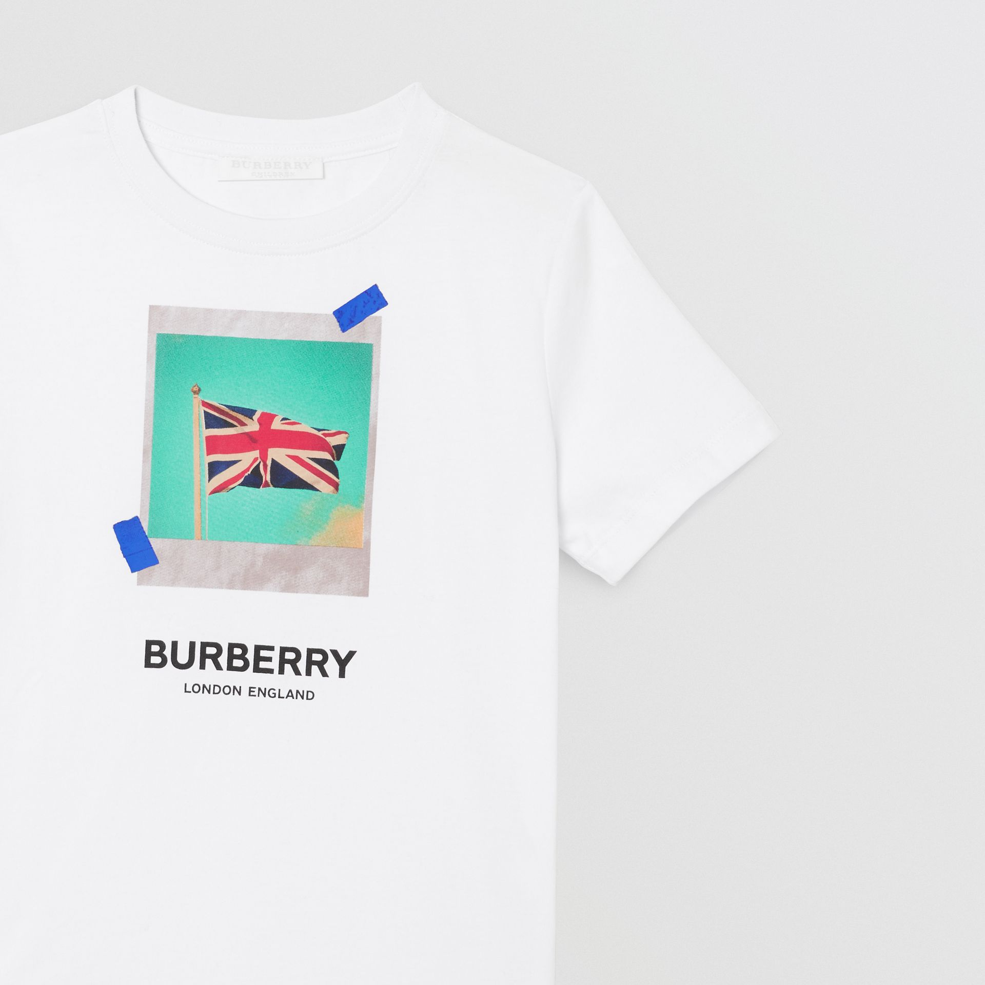 Union Jack Print Cotton T-shirt in White | Burberry - gallery image 5