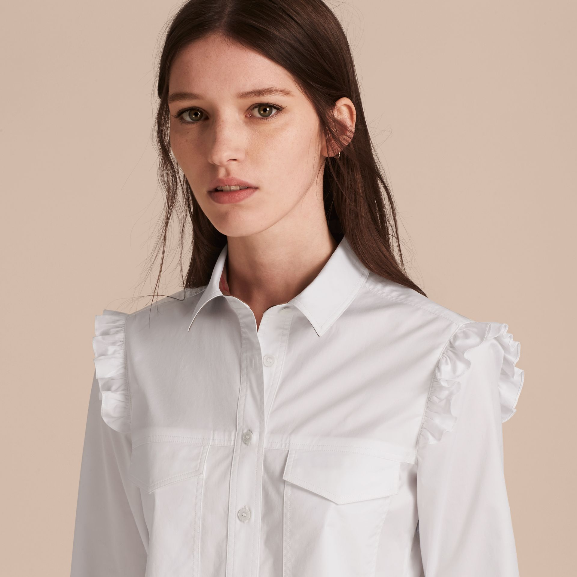 Ruffle and Check Detail Cotton Shirt Dress White - gallery image 6